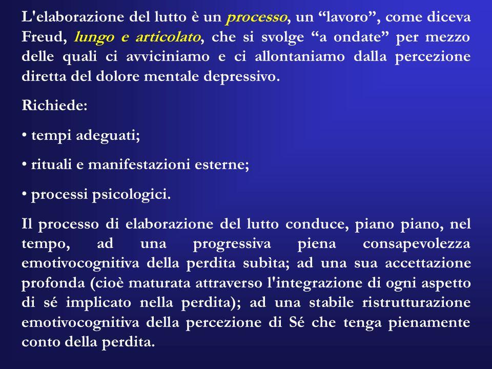 L'elaborazione del lutto è un processo, un lavoro, come diceva Freud, lungo e articolato, che si svolge a ondate per mezzo delle quali ci avviciniamo