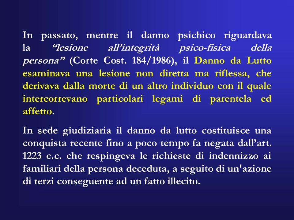 In passato, mentre il danno psichico riguardava la lesione allintegrità psico-fisica della persona (Corte Cost. 184/1986), il Danno da Lutto esaminava