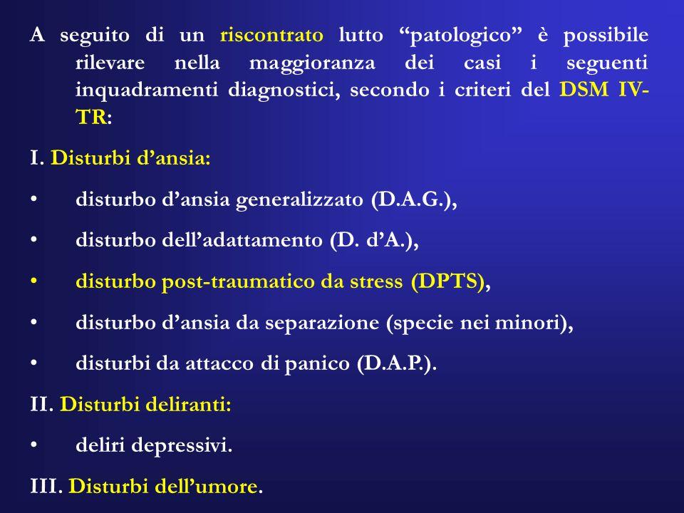 A seguito di un riscontrato lutto patologico è possibile rilevare nella maggioranza dei casi i seguenti inquadramenti diagnostici, secondo i criteri d