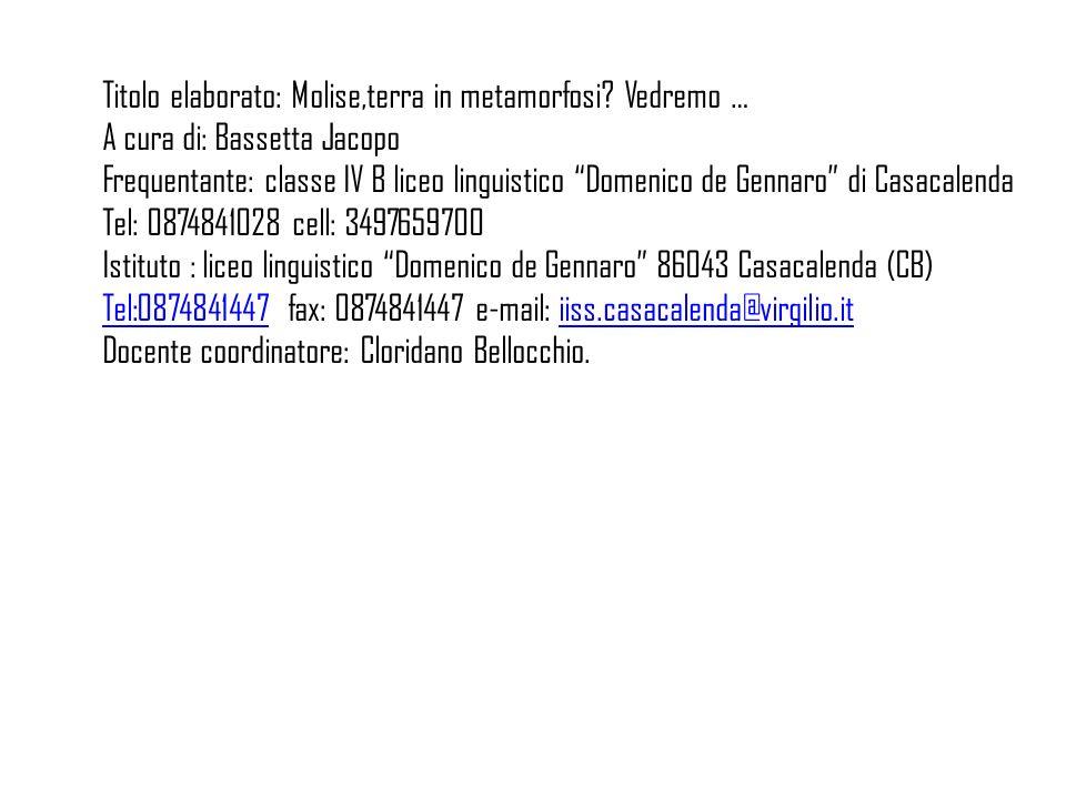 Titolo elaborato: Molise,terra in metamorfosi? Vedremo … A cura di: Bassetta Jacopo Frequentante: classe IV B liceo linguistico Domenico de Gennaro di