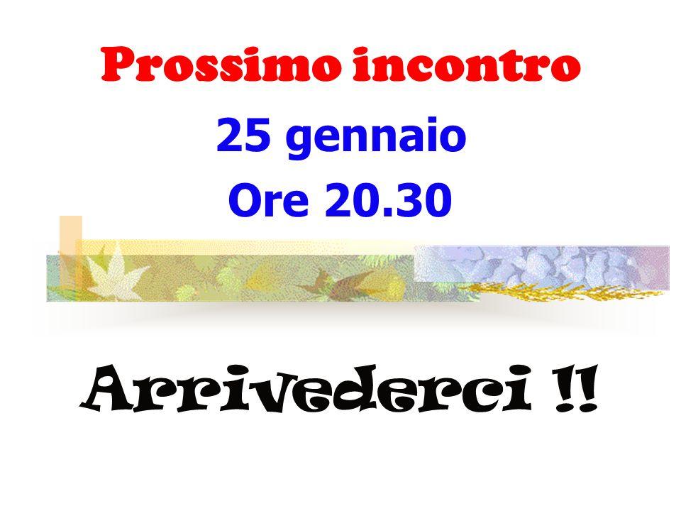 Prossimo incontro 25 gennaio Ore 20.30 Arrivederci !!