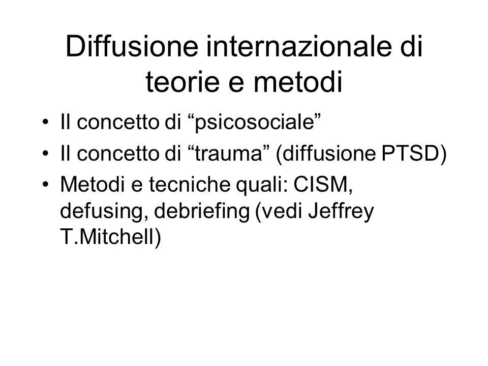Diffusione internazionale di teorie e metodi Il concetto di psicosociale Il concetto di trauma (diffusione PTSD) Metodi e tecniche quali: CISM, defusing, debriefing (vedi Jeffrey T.Mitchell)