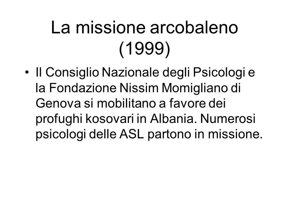 La missione arcobaleno (1999) Il Consiglio Nazionale degli Psicologi e la Fondazione Nissim Momigliano di Genova si mobilitano a favore dei profughi kosovari in Albania.