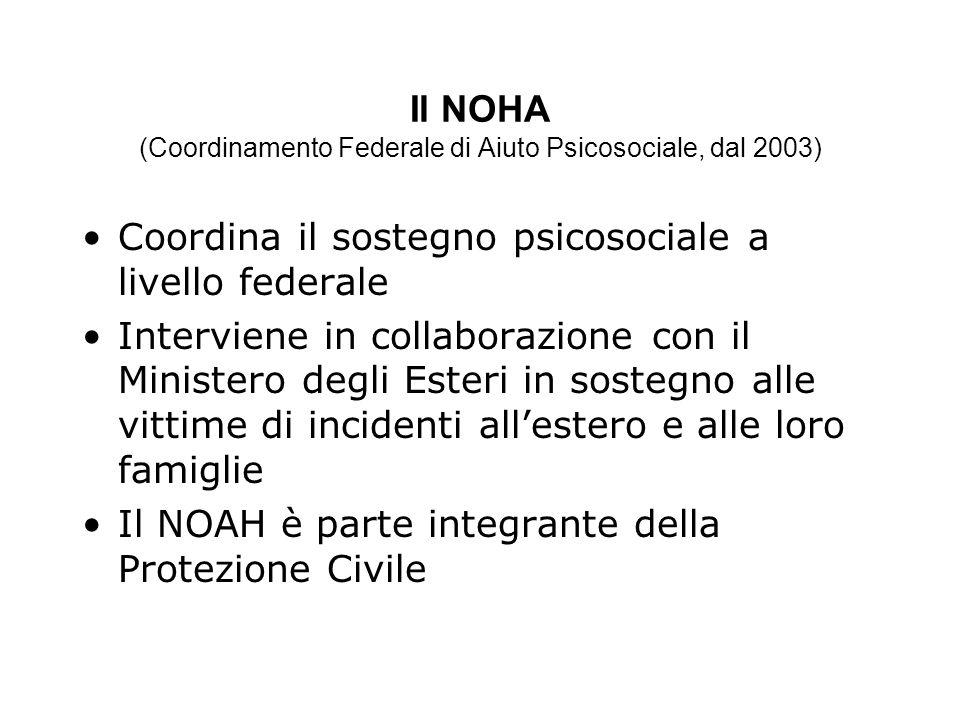 Il NOHA (Coordinamento Federale di Aiuto Psicosociale, dal 2003) Coordina il sostegno psicosociale a livello federale Interviene in collaborazione con il Ministero degli Esteri in sostegno alle vittime di incidenti allestero e alle loro famiglie Il NOAH è parte integrante della Protezione Civile