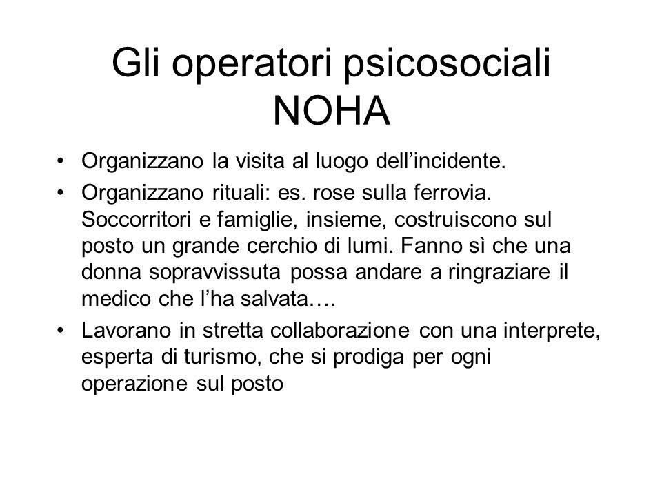 Gli operatori psicosociali NOHA Organizzano la visita al luogo dellincidente.