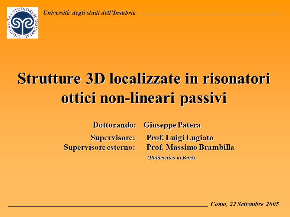 Università degli studi dellInsubria Strutture 3D localizzate in risonatori ottici non-lineari passivi Dottorando: Giuseppe Patera Supervisore: Prof.
