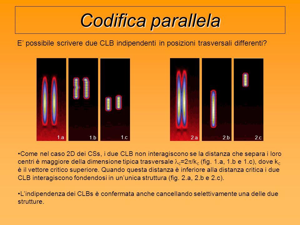 Codifica parallela E possibile scrivere due CLB indipendenti in posizioni trasversali differenti.