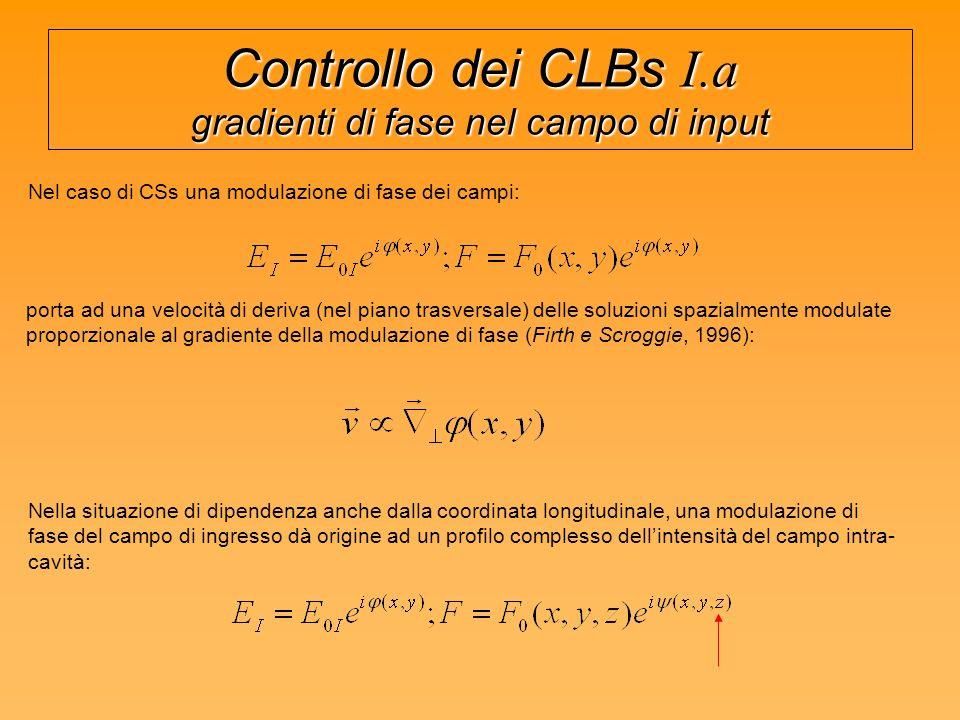 Controllo dei CLBs I.a gradienti di fase nel campo di input Nel caso di CSs una modulazione di fase dei campi: porta ad una velocità di deriva (nel piano trasversale) delle soluzioni spazialmente modulate proporzionale al gradiente della modulazione di fase (Firth e Scroggie, 1996): Nella situazione di dipendenza anche dalla coordinata longitudinale, una modulazione di fase del campo di ingresso dà origine ad un profilo complesso dellintensità del campo intra- cavità: