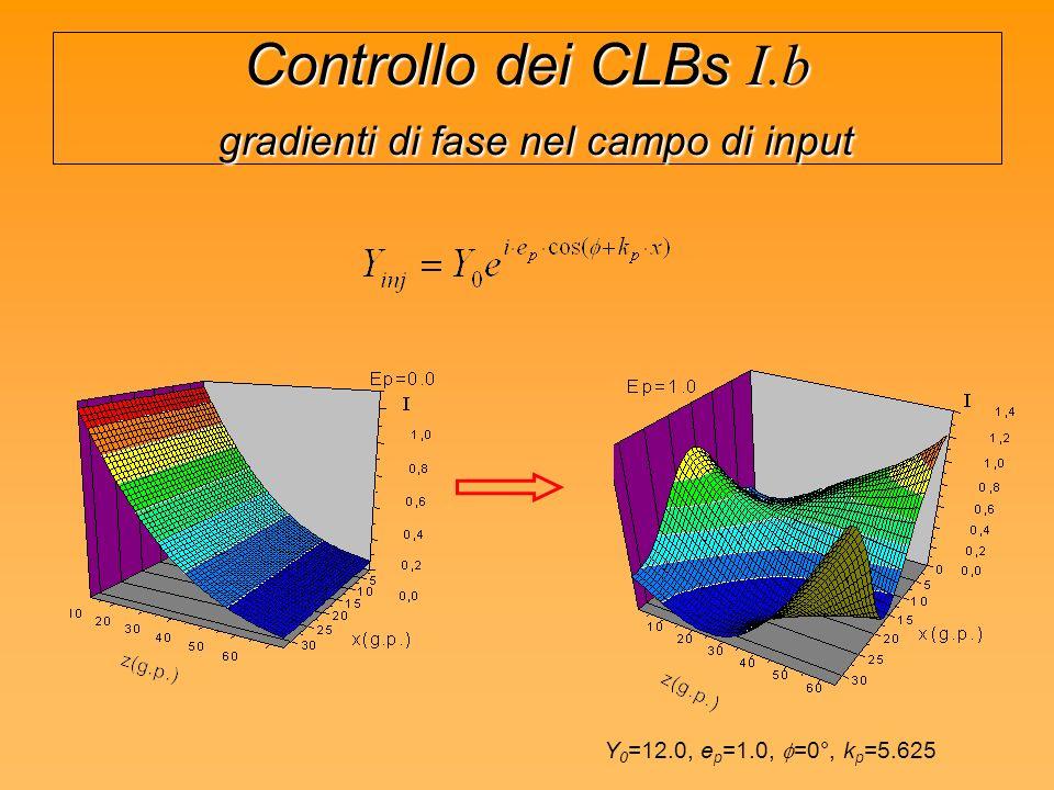 Controllo dei CLBs I.b gradienti di fase nel campo di input Y 0 =12.0, e p =1.0, =0°, k p =5.625