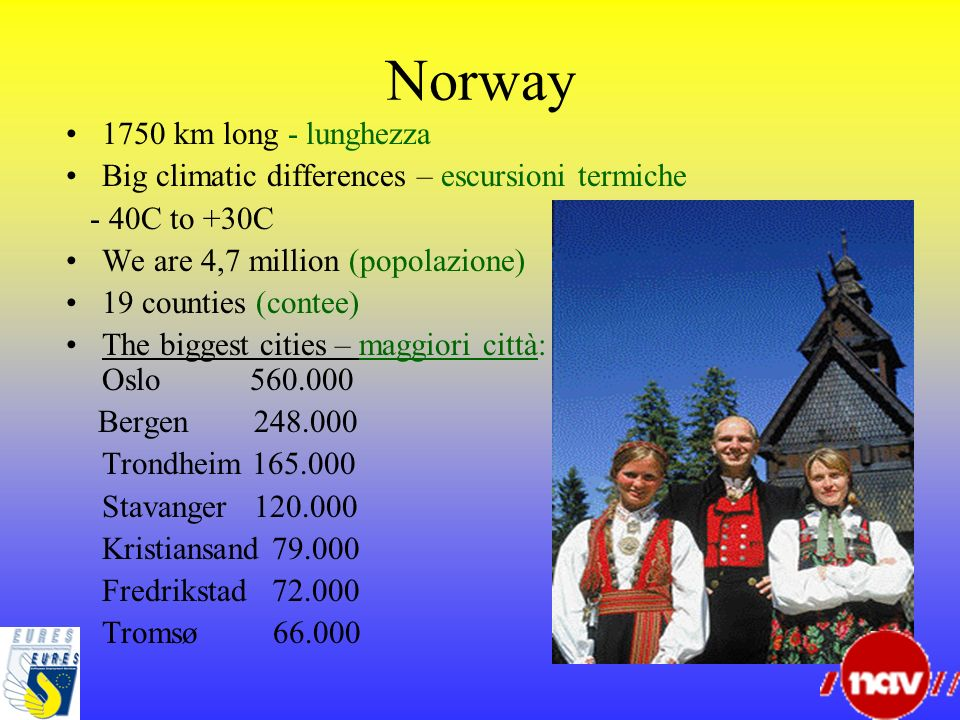 Norway 1750 km long - lunghezza Big climatic differences – escursioni termiche - 40C to +30C We are 4,7 million (popolazione) 19 counties (contee) The