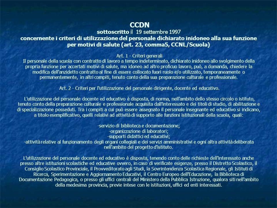 CCDN sottoscritto il 19 settembre 1997 concernente i criteri di utilizzazione del personale dichiarato inidoneo alla sua funzione per motivi di salute