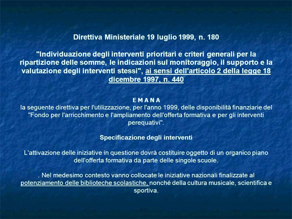 Direttiva Ministeriale 19 luglio 1999, n. 180