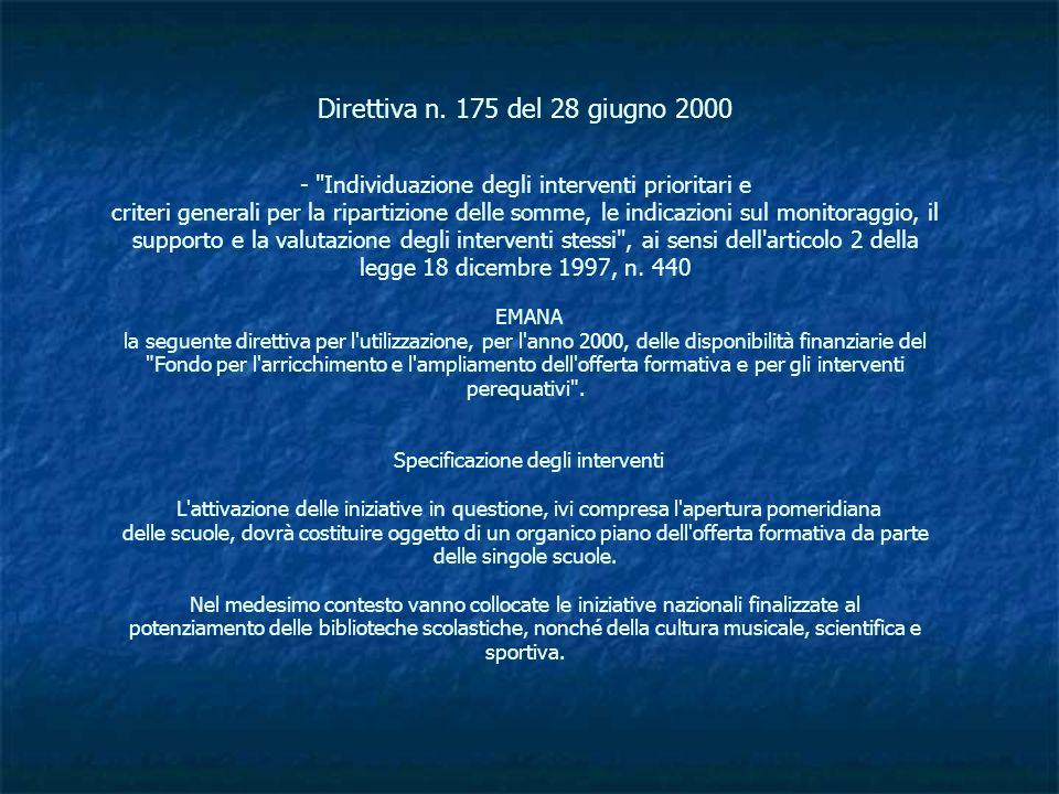 Direttiva n. 175 del 28 giugno 2000 -