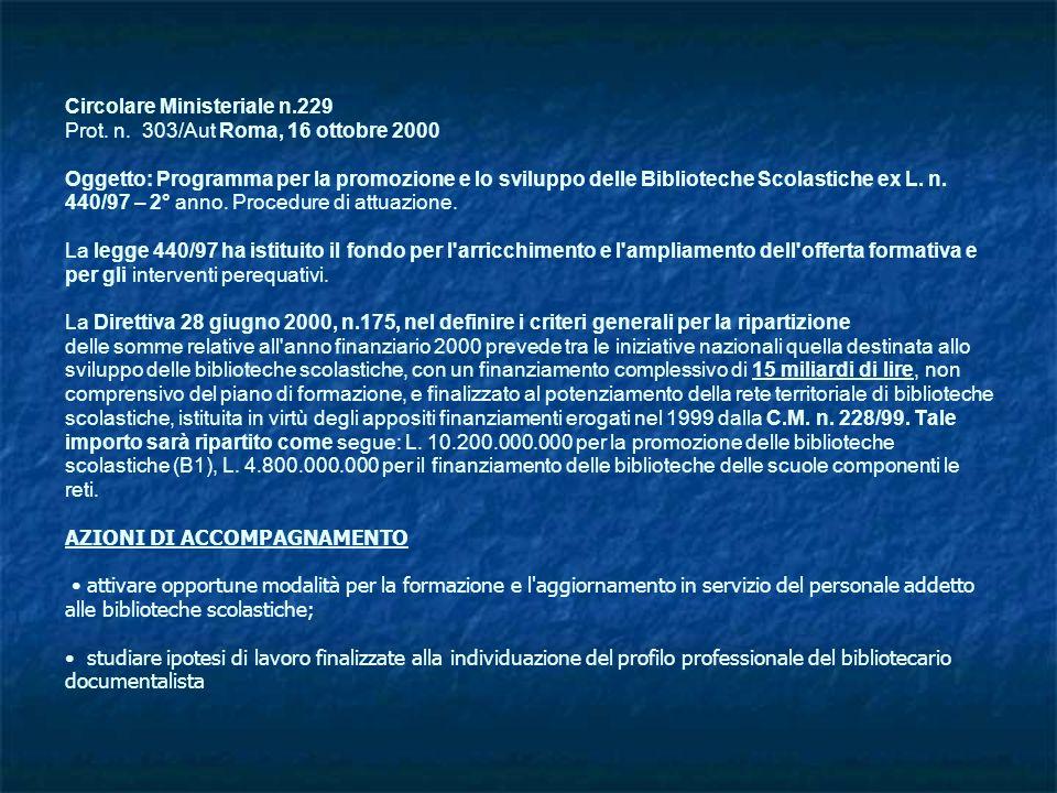 Circolare Ministeriale n.229 Prot. n. 303/Aut Roma, 16 ottobre 2000 Oggetto: Programma per la promozione e lo sviluppo delle Biblioteche Scolastiche e