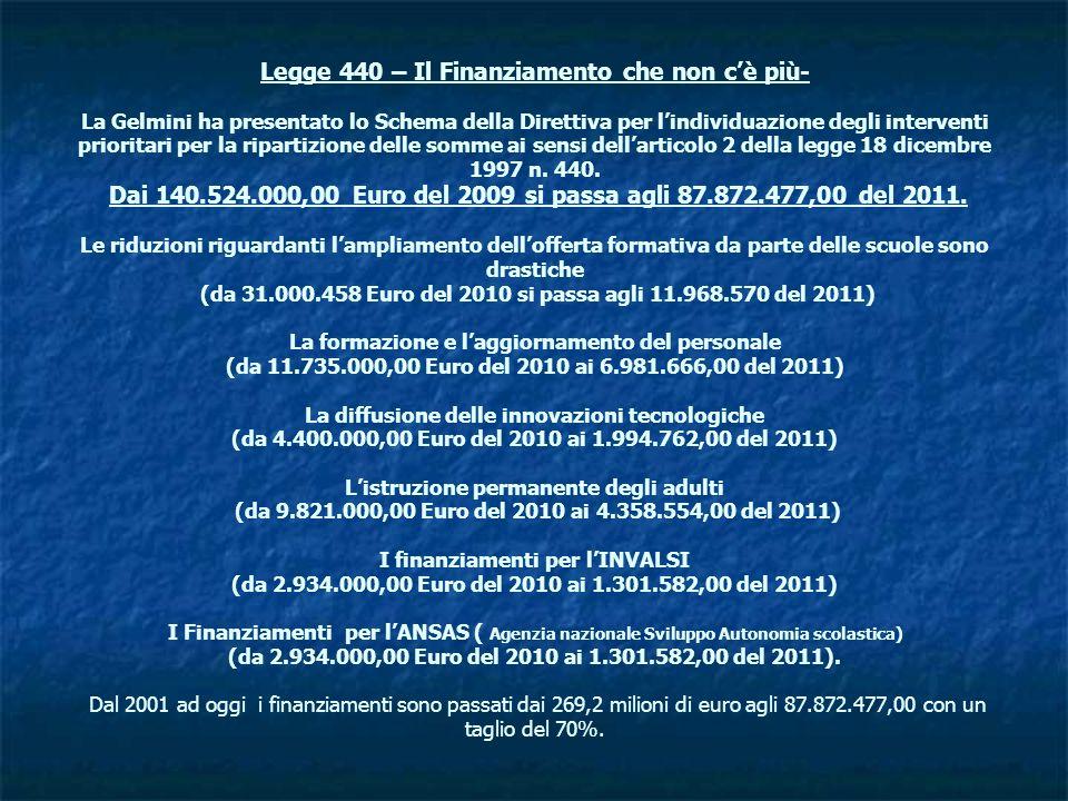 Legge 440 – Il Finanziamento che non cè più- La Gelmini ha presentato lo Schema della Direttiva per lindividuazione degli interventi prioritari per la