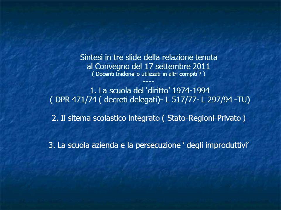 Sintesi in tre slide della relazione tenuta al Convegno del 17 settembre 2011 ( Docenti Inidonei o utilizzati in altri compiti ? ) ---- 1. La scuola d