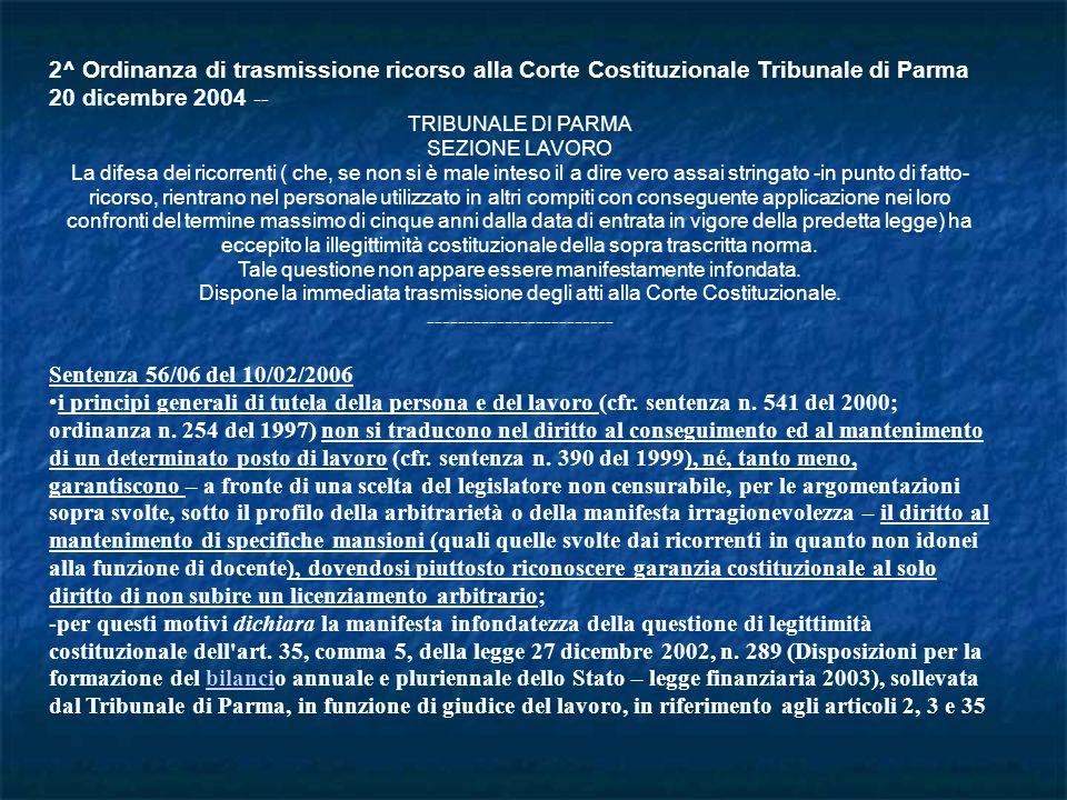 2^ Ordinanza di trasmissione ricorso alla Corte Costituzionale Tribunale di Parma 20 dicembre 2004 -- TRIBUNALE DI PARMA SEZIONE LAVORO La difesa dei