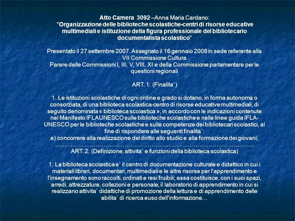 Atto Camera 3092 –Anna Maria Cardano: