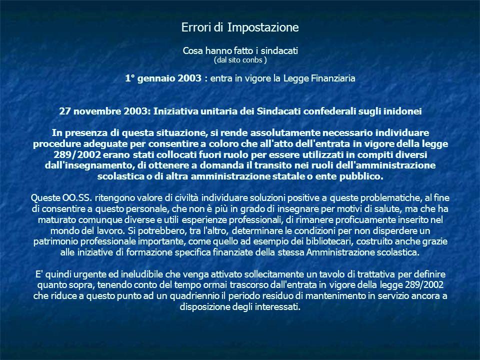 Errori di Impostazione Cosa hanno fatto i sindacati (dal sito conbs ) 1° gennaio 2003 : entra in vigore la Legge Finanziaria 27 novembre 2003: Iniziat
