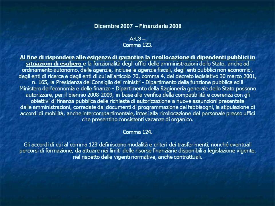 Dicembre 2007 – Finanziaria 2008 Art.3 – Comma 123. Al fine di rispondere alle esigenze di garantire la ricollocazione di dipendenti pubblici in situa