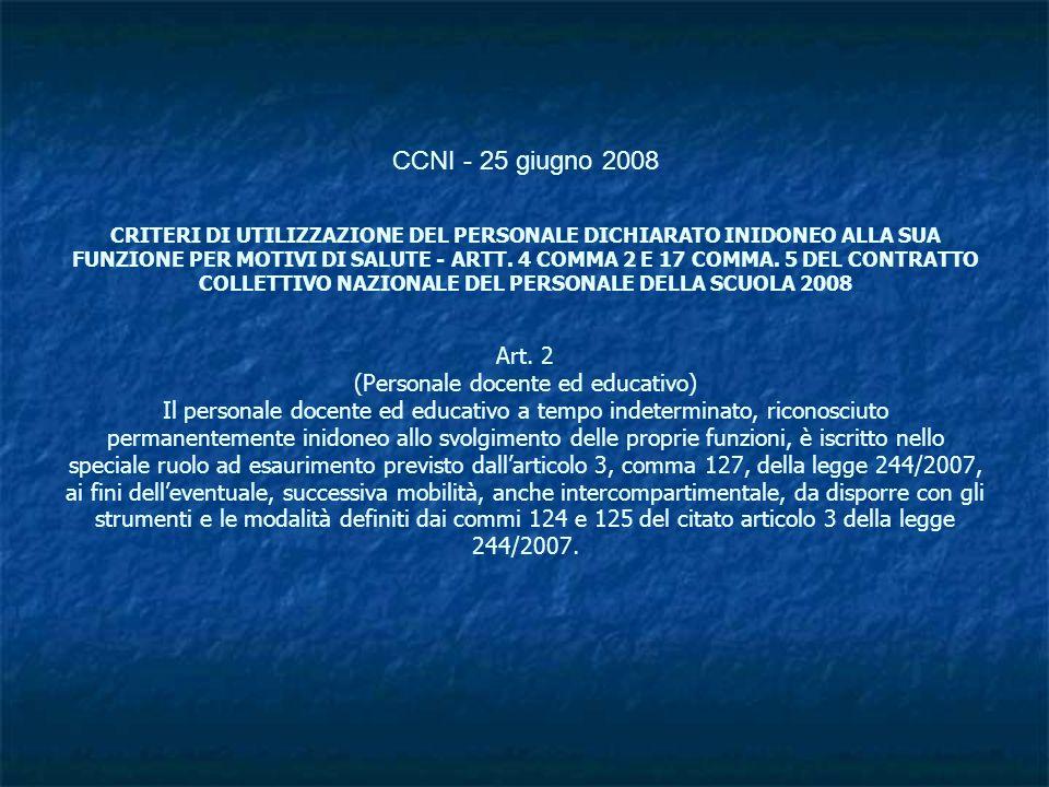 CCNI - 25 giugno 2008 CRITERI DI UTILIZZAZIONE DEL PERSONALE DICHIARATO INIDONEO ALLA SUA FUNZIONE PER MOTIVI DI SALUTE - ARTT. 4 COMMA 2 E 17 COMMA.