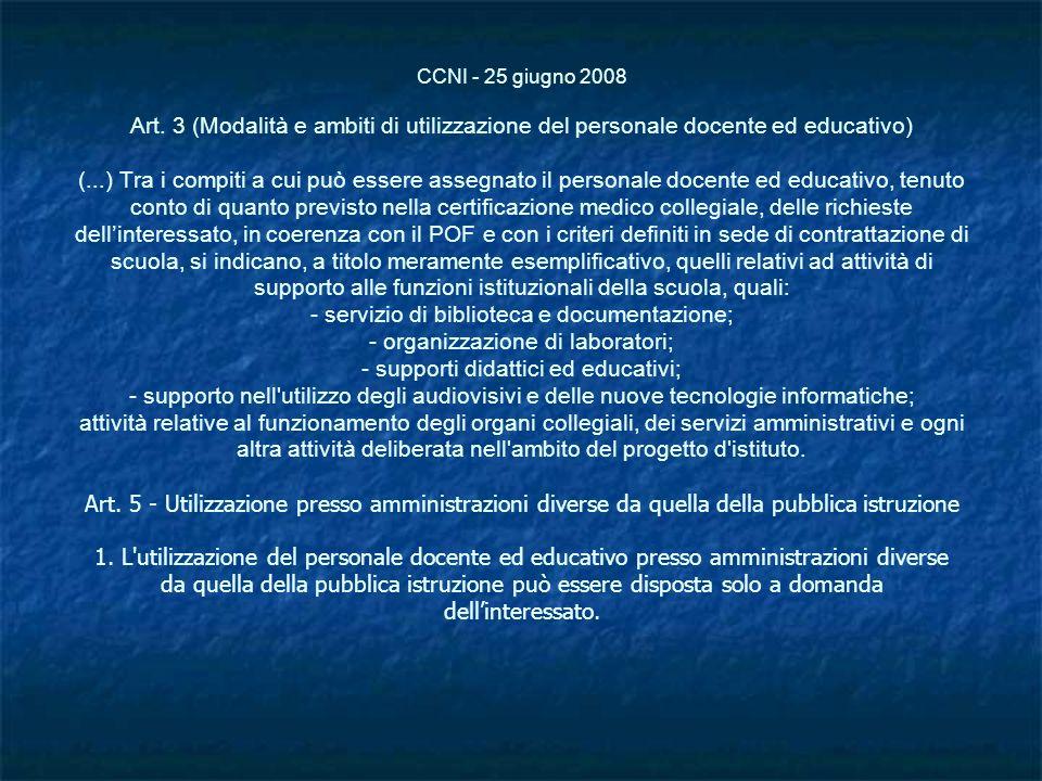 CCNI - 25 giugno 2008 Art. 3 (Modalità e ambiti di utilizzazione del personale docente ed educativo) (...) Tra i compiti a cui può essere assegnato il