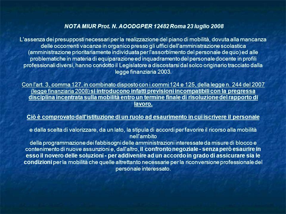 NOTA MIUR Prot. N. AOODGPER 12482 Roma 23 luglio 2008 L'assenza dei presupposti necessari per la realizzazione del piano di mobilità, dovuta alla manc