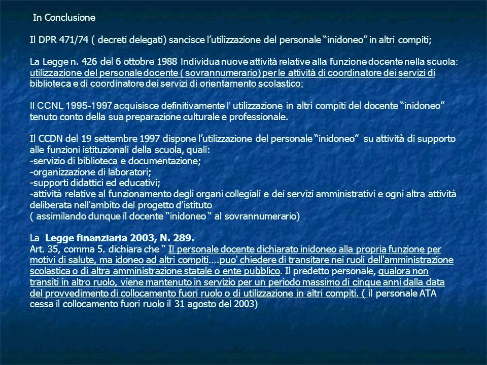 In Conclusione Il DPR 471/74 ( decreti delegati) sancisce lutilizzazione del personale inidoneo in altri compiti; La Legge n. 426 del 6 ottobre 1988 I