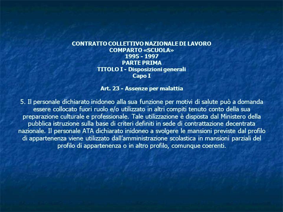 CONTRATTO COLLETTIVO NAZIONALE DI LAVORO COMPARTO «SCUOLA» 1995 - 1997 PARTE PRIMA TITOLO I - Disposizioni generali Capo I Art. 23 - Assenze per malat