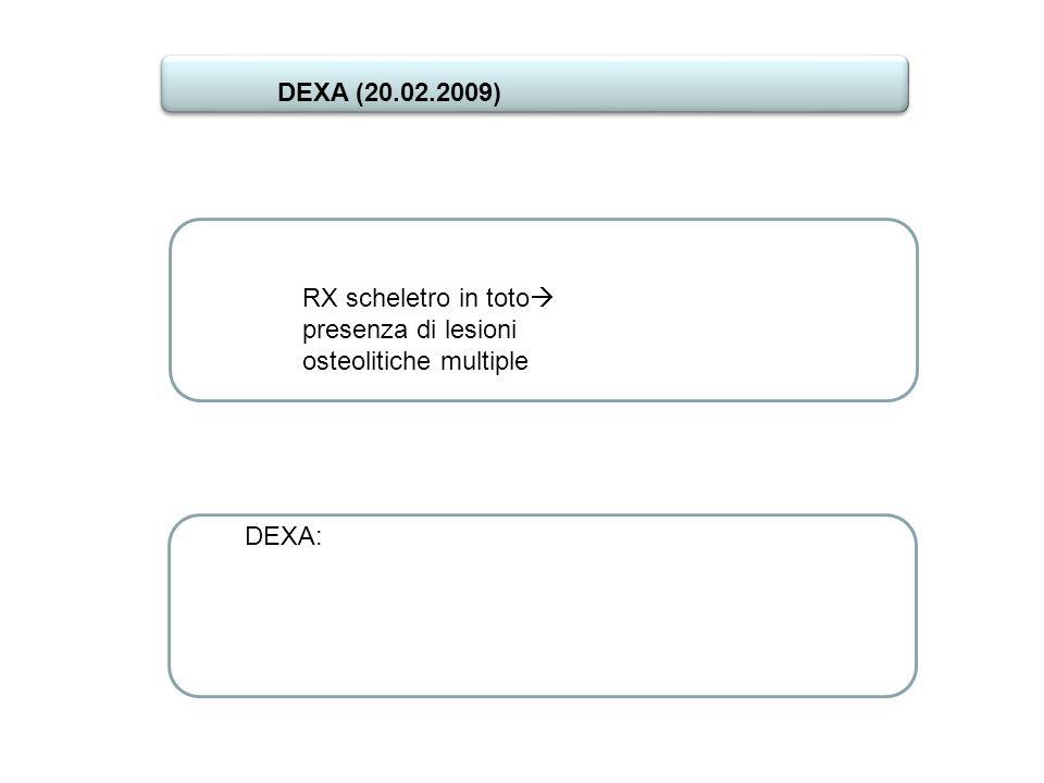 RX scheletro in toto presenza di lesioni osteolitiche multiple DEXA: DEXA (20.02.2009)