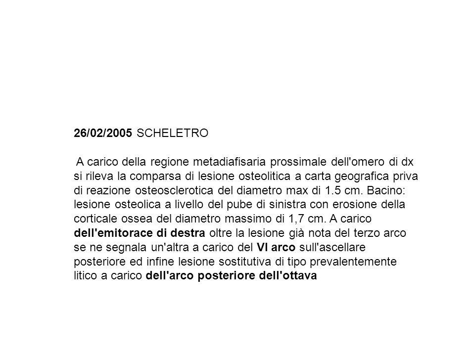 26/02/2005 SCHELETRO A carico della regione metadiafisaria prossimale dell'omero di dx si rileva la comparsa di lesione osteolitica a carta geografica