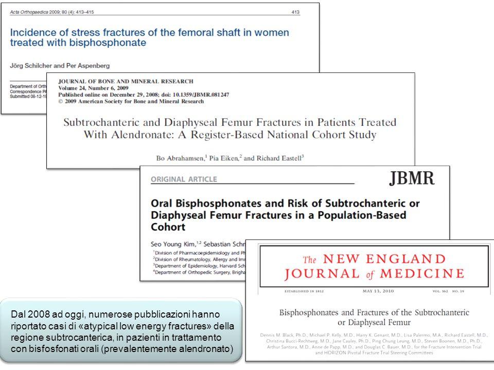 Dal 2008 ad oggi, numerose pubblicazioni hanno riportato casi di «atypical low energy fractures» della regione subtrocanterica, in pazienti in trattam