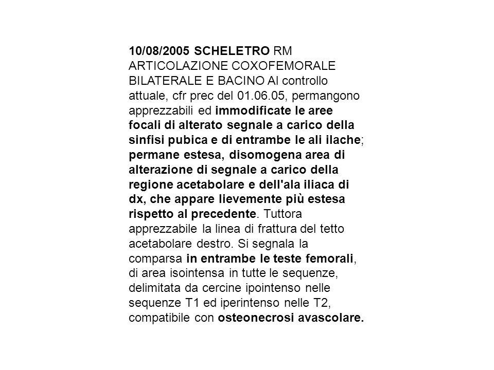 10/08/2005 SCHELETRO RM ARTICOLAZIONE COXOFEMORALE BILATERALE E BACINO Al controllo attuale, cfr prec del 01.06.05, permangono apprezzabili ed immodif
