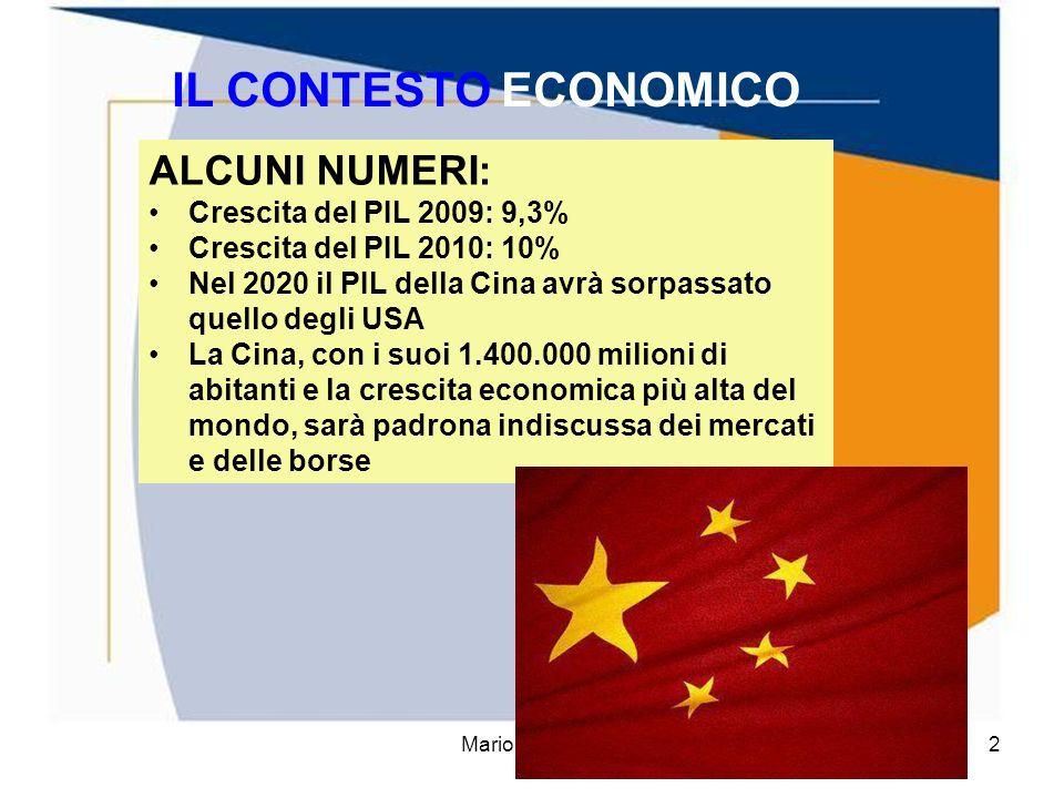 Mario Fraccaro2 IL CONTESTO ECONOMICO ALCUNI NUMERI: Crescita del PIL 2009: 9,3% Crescita del PIL 2010: 10% Nel 2020 il PIL della Cina avrà sorpassato