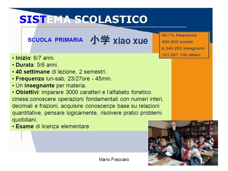 Mario Fraccaro5 SISTEMA SCOLASTICO Inizio: 6/7 anni. Durata: 5/6 anni. 40 settimane di lezione, 2 semestri. Frequenza lun-sab, 23/27ore - 45min. Un in