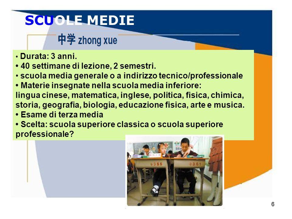 Mario Fraccaro6 SCUOLE MEDIE Durata: 3 anni. 40 settimane di lezione, 2 semestri. scuola media generale o a indirizzo tecnico/professionale Materie in