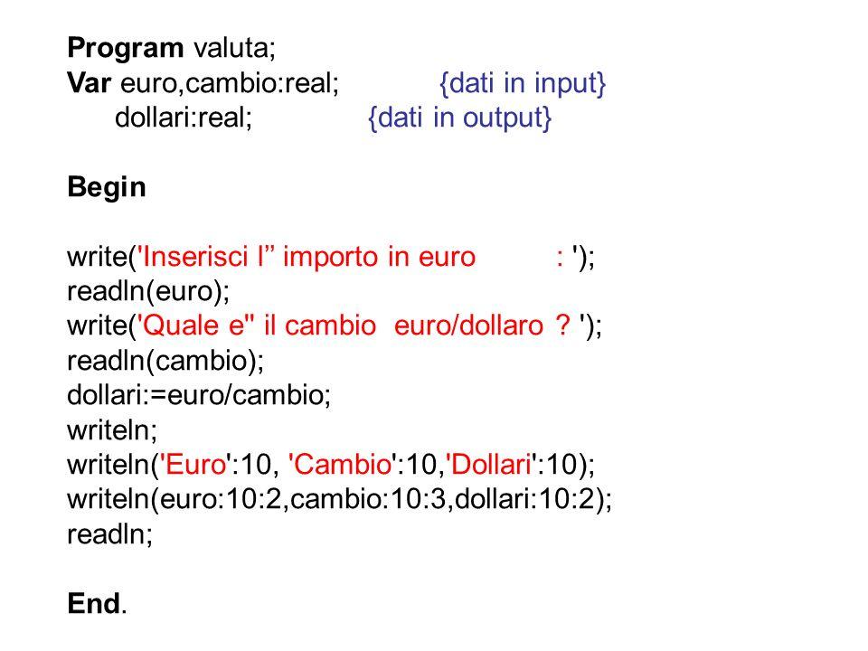 Program valuta; Var euro,cambio:real; {dati in input} dollari:real; {dati in output} Begin write('Inserisci l importo in euro : '); readln(euro); writ