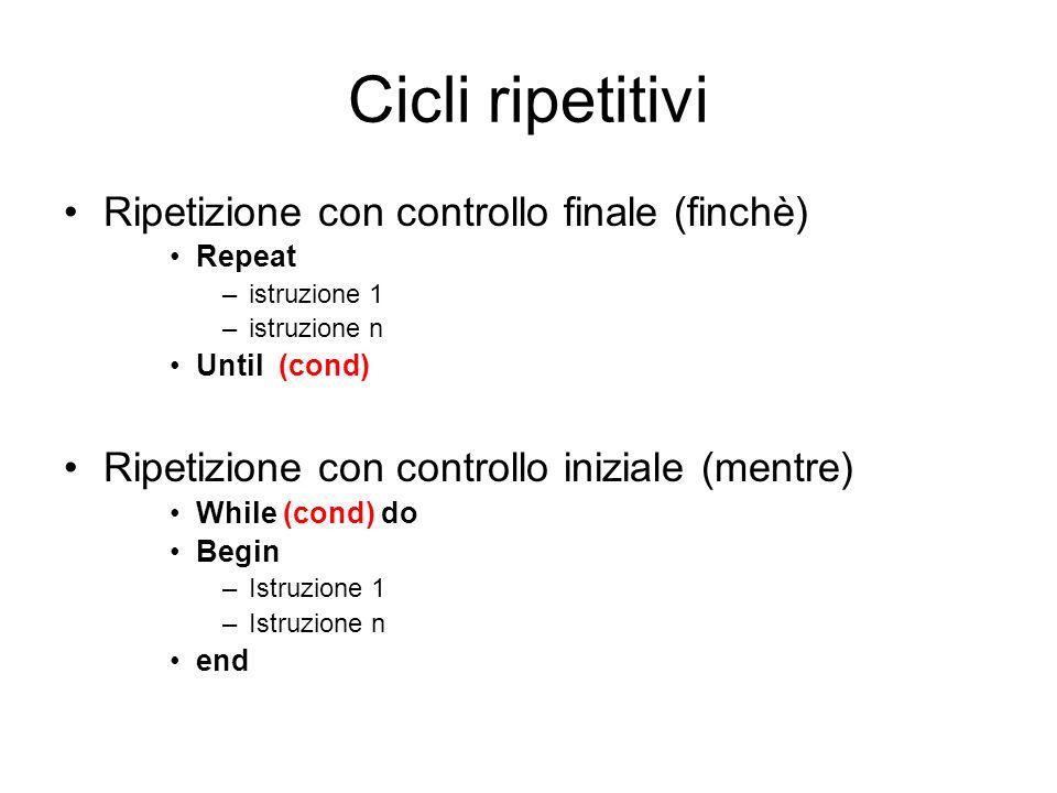 Cicli ripetitivi Ripetizione con controllo finale (finchè) Repeat –istruzione 1 –istruzione n Until (cond) Ripetizione con controllo iniziale (mentre)