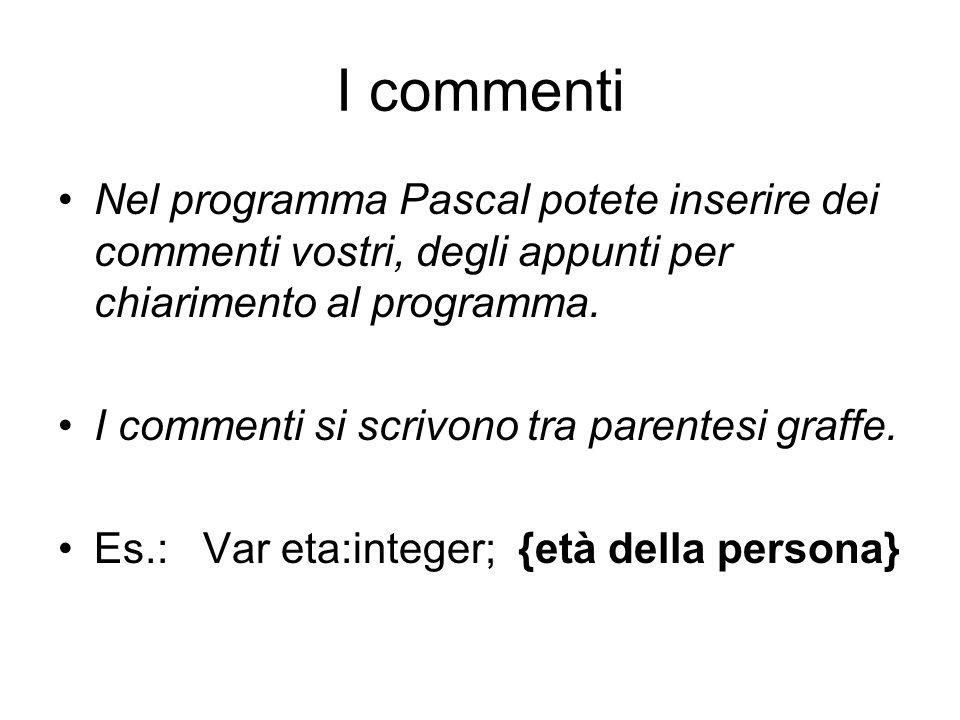 I commenti Nel programma Pascal potete inserire dei commenti vostri, degli appunti per chiarimento al programma. I commenti si scrivono tra parentesi
