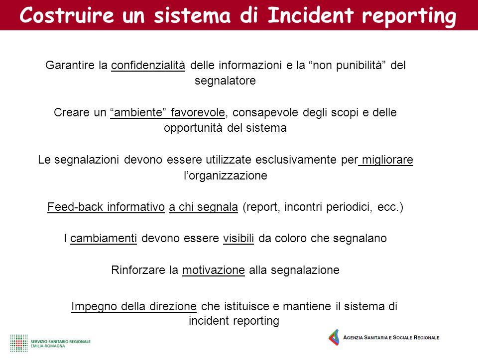 Costruire un sistema di Incident reporting Garantire la confidenzialità delle informazioni e la non punibilità del segnalatore Creare un ambiente favo