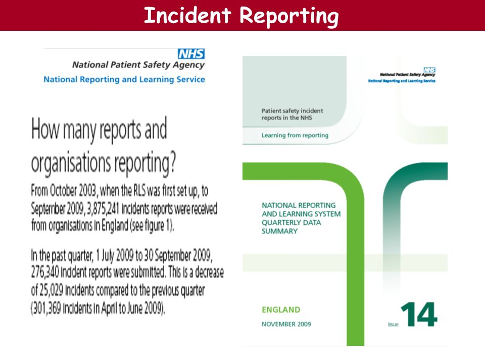 Number of incidents reported in England, October 2003 to September 2009