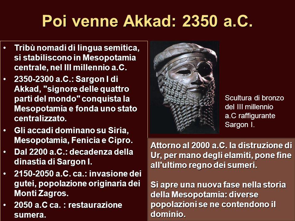 Poi venne Akkad: 2350 a.C. Tribù nomadi di lingua semitica, si stabiliscono in Mesopotamia centrale, nel III millennio a.C.Tribù nomadi di lingua semi
