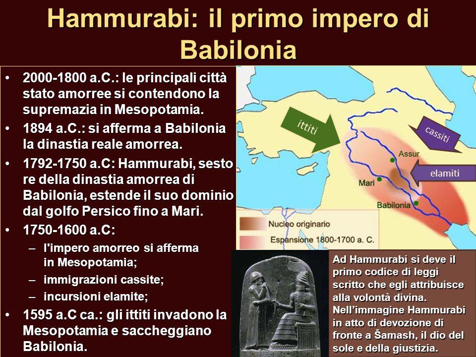 Hammurabi: il primo impero di Babilonia 2000-1800 a.C.: le principali città stato amorree si contendono la supremazia in Mesopotamia.2000-1800 a.C.: l
