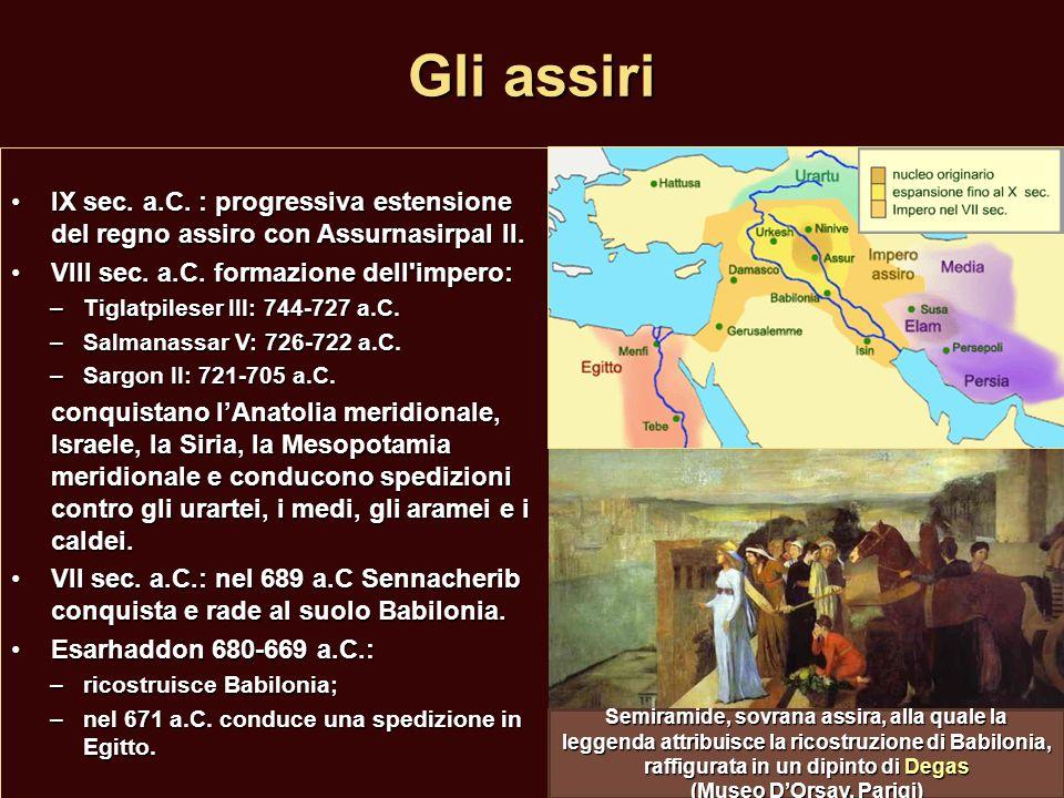 La fine dellimpero assiro Assurbanipal (668-631 a.C.): l ultimo grande re assiro:Assurbanipal (668-631 a.C.): l ultimo grande re assiro: –politica di pacificazione interna, Babilonia diventa un regno autonomo; –politica di espansione in Egitto: nel 663 a.C.