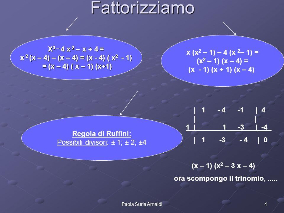4Paola Suria Arnaldi Fattorizziamo X 3 – 4 x 2 – x + 4 = x 2 (x – 4) – (x – 4) = (x - 4) ( x 2 - 1) = (x – 4) ( x – 1) (x+1) = (x – 4) ( x – 1) (x+1)