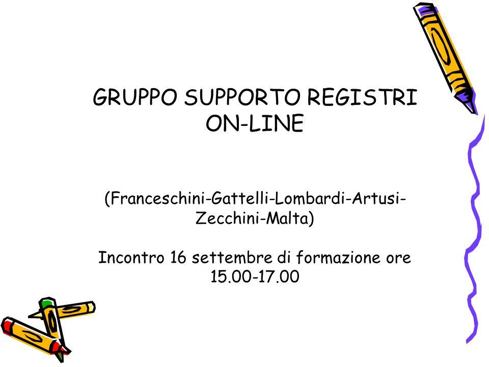 GRUPPO SUPPORTO REGISTRI ON-LINE (Franceschini-Gattelli-Lombardi-Artusi- Zecchini-Malta) Incontro 16 settembre di formazione ore 15.00-17.00