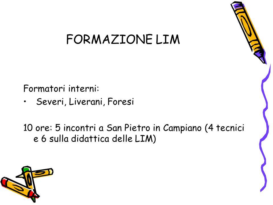 FORMAZIONE LIM Formatori interni: Severi, Liverani, Foresi 10 ore: 5 incontri a San Pietro in Campiano (4 tecnici e 6 sulla didattica delle LIM)