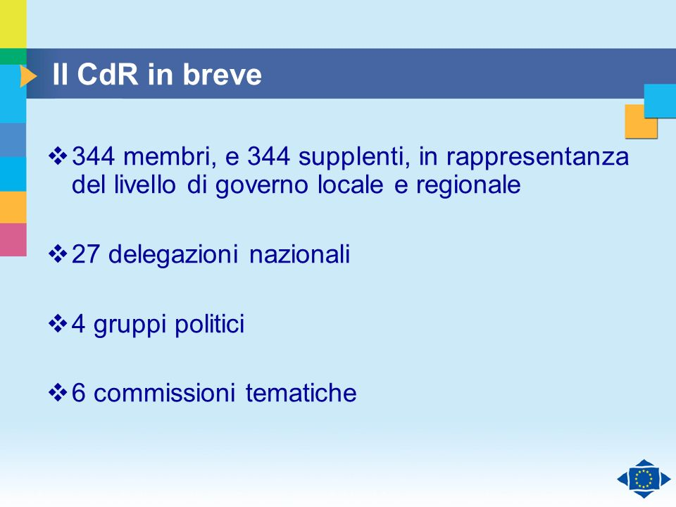 Click to edit Master title style Click to edit Master text styles Second level Third level Fourth level Fifth level 6 Il CdR in breve 344 membri, e 344 supplenti, in rappresentanza del livello di governo locale e regionale 27 delegazioni nazionali 4 gruppi politici 6 commissioni tematiche