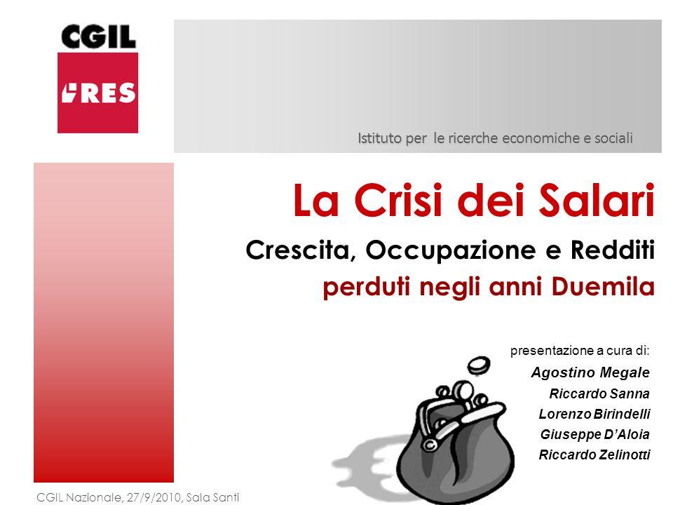 Istituto per le ricerche economiche e sociali La Crisi dei Salari Crescita, Occupazione e Redditi perduti negli anni Duemila CGIL Nazionale, 27/9/2010
