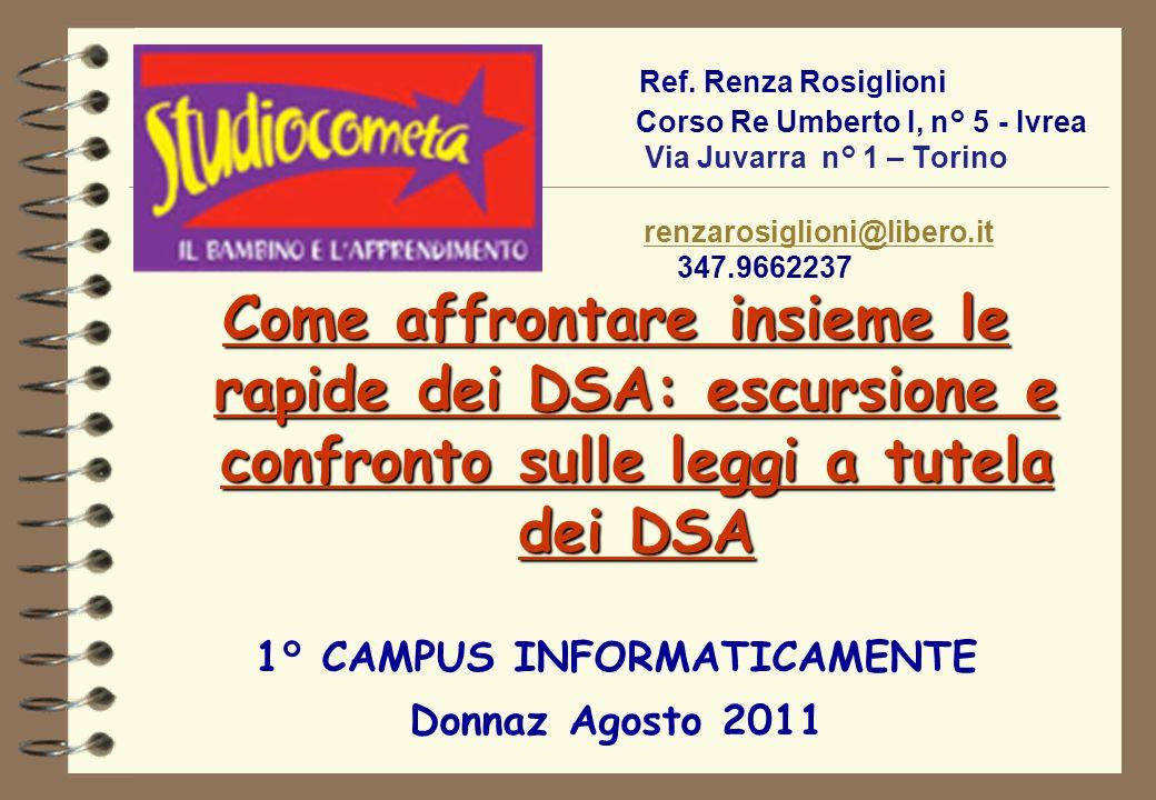 Come affrontare insieme le rapide dei DSA: escursione e confronto sulle leggi a tutela dei DSA 1° CAMPUS INFORMATICAMENTE Donnaz Agosto 2011 Ref. Renz